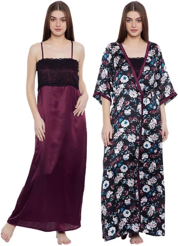 4fcd64abe8 Clovia Women Nighty with Robe - Buy Clovia Women Nighty with Robe ...