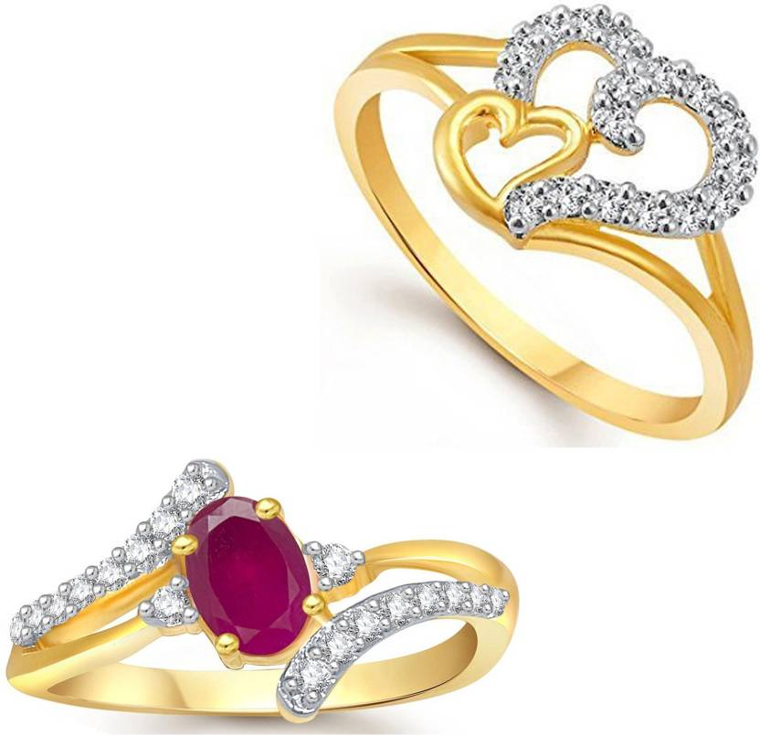 a440bfd432fb24 Lady Touch Lady touch Combo of Ruby 24K Gold Ring For Girls & Women In  American