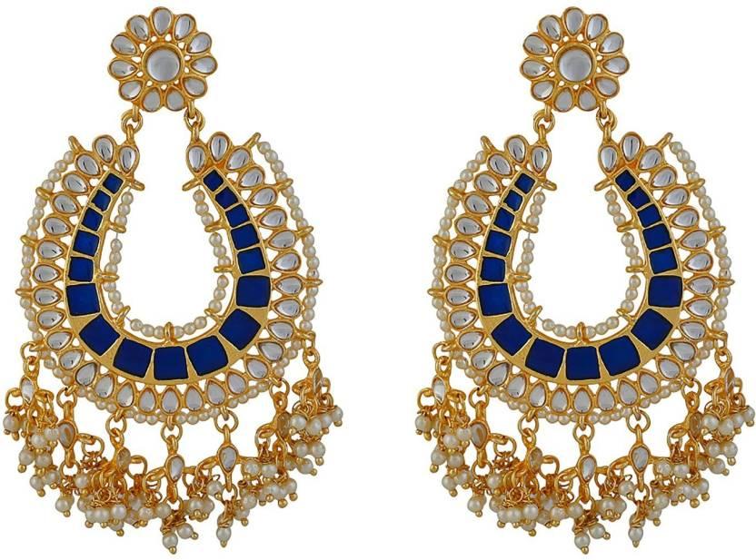 1175ba511b66 Flipkart.com - Buy Bling Bag Motif Ethnic Earrings Pearl Alloy Dangle Earring  Online at Best Prices in India