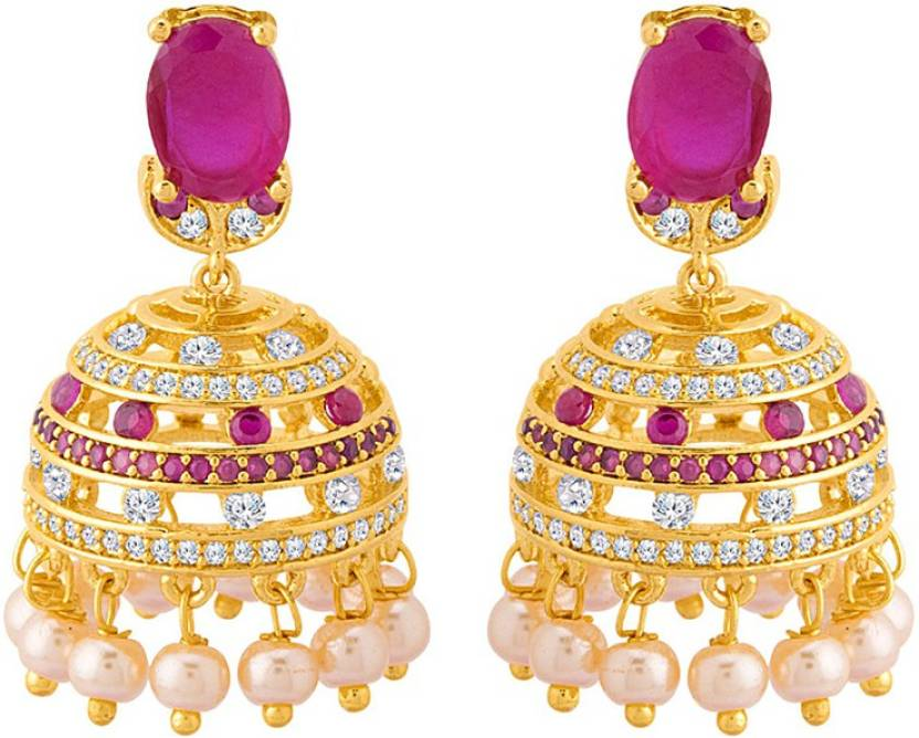 3bdef2447 Flipkart.com - Buy Voylla Jhumki Pattern Gold Plated Golden Domes Earrings  Cubic Zirconia Brass Jhumki Earring Online at Best Prices in India
