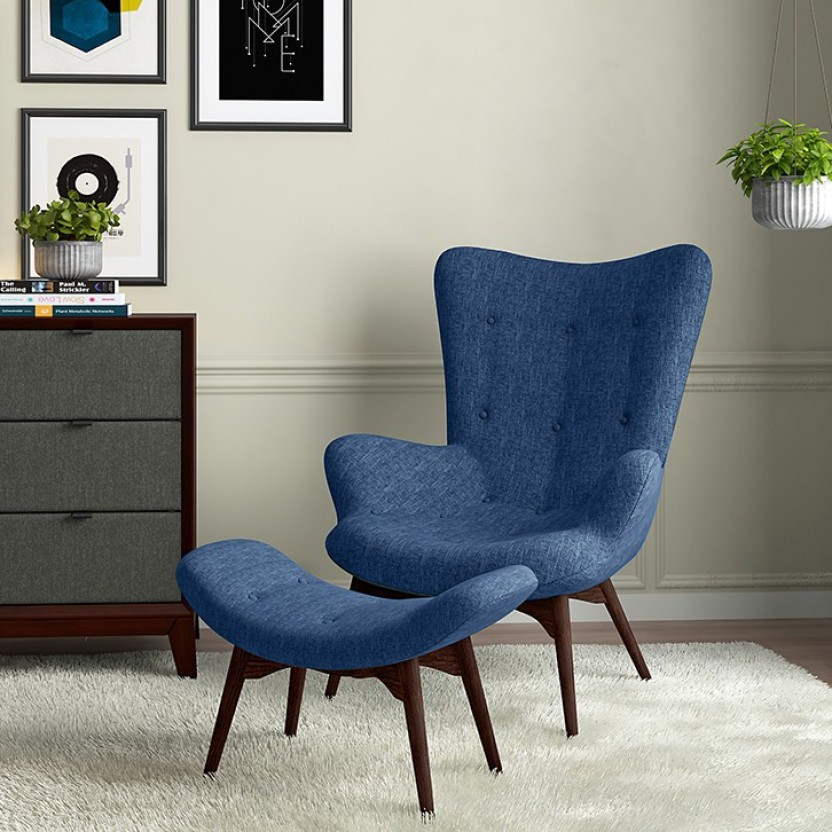 Urban Ladder Contour Chair U0026 Ottoman Fabric Lounger