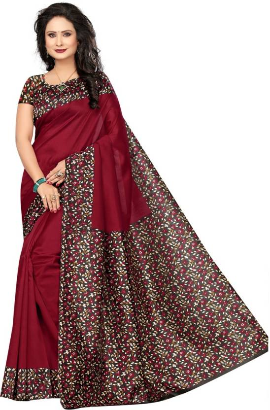 1df26371f27cc Buy Saara Printed Kalamkari Poly Silk Maroon Sarees Online   Best ...