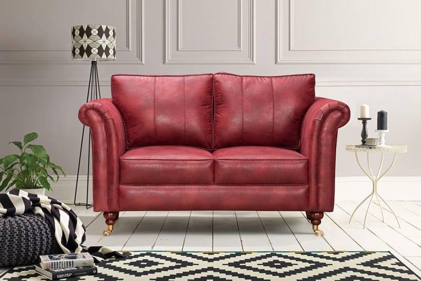 Groovy Peachtree Majestic 2 Seater Maroon Fabric Sofa Leatherette 2 Machost Co Dining Chair Design Ideas Machostcouk