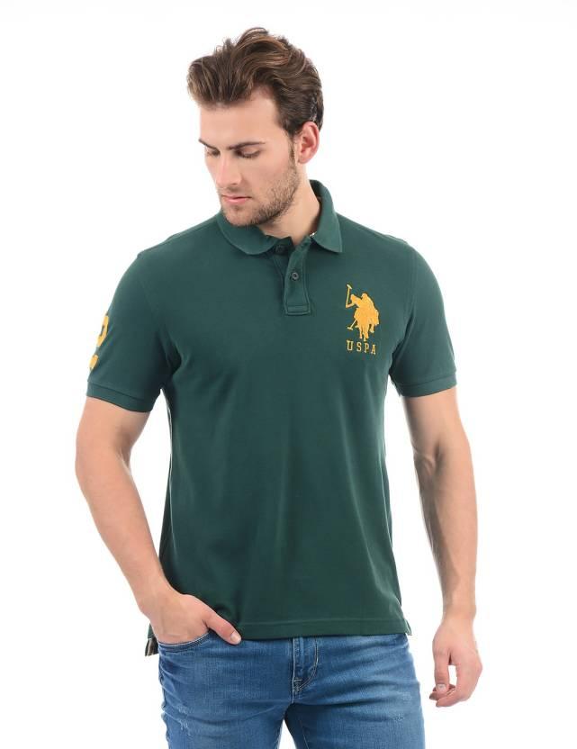 0ae683eba U.S. Polo Assn Solid Men Polo Neck Dark Green T-Shirt