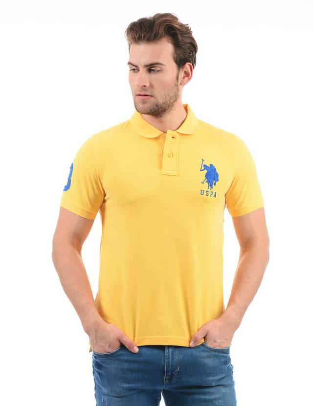 897bf7f36 U.S. Polo Assn Solid Men Polo Neck Yellow T-Shirt - Buy U.S. Polo Assn  Solid Men Polo Neck Yellow T-Shirt Online at Best Prices in India