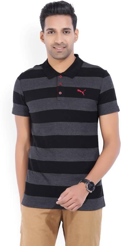 96e0db050a Puma Striped Men's Polo Neck Black, Grey T-Shirt - Buy Puma Black ...