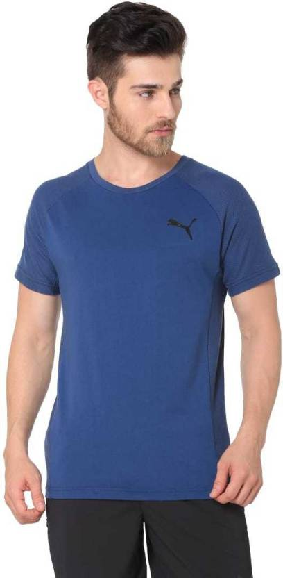 8efd37fbb56a Puma Solid Men Round Neck Blue T-Shirt - Buy Puma Solid Men Round Neck Blue  T-Shirt Online at Best Prices in India