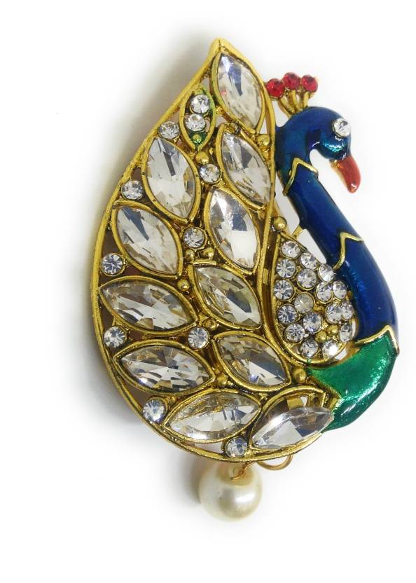 8e9ea0793 Khubsurat Saree Pin Brooch for Women & Girls, Gold Tone, Peacock Concept,  Enameled, Stone Stud with Drop Brooch (Multicolor)
