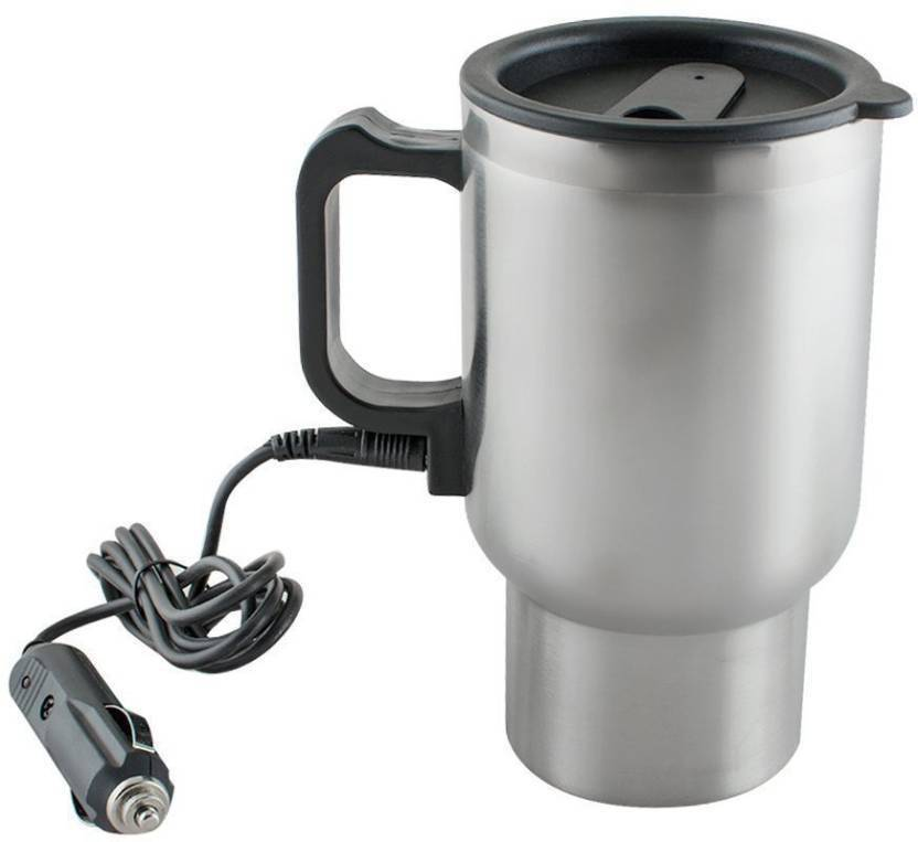 Bluebells India Stainless Steel Cup Kettle Travel Coffee Heated Mug Car Based Heating Motor Hot Water Heater With Cigar Lighter Cable Electric 450 L