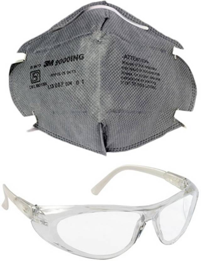 Vezual 3M9000ING CLEAR GLASS COMBO 3M 9000ING Safety Grey Mask for  protection against Dust / Pollution / Disposable P1 Class & Clear Glass  Mask and