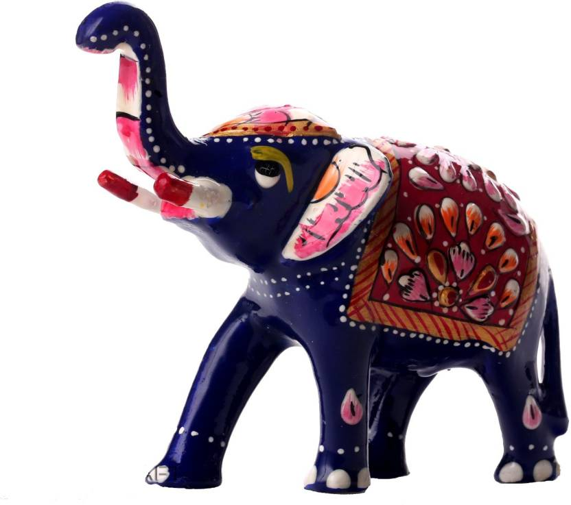 DreamKraft Hand Painted Metal 3 Inch Elephant show Piece