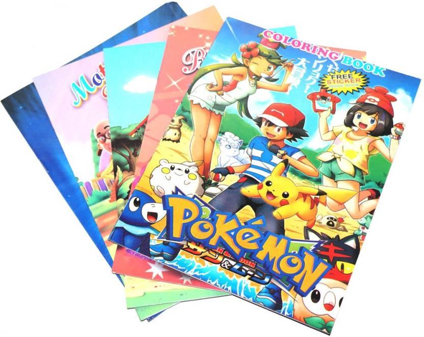 muren set of 5 cartoon character drawing book with sickers sketch