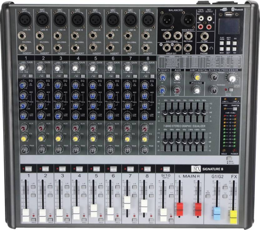 MX Live Audio Mixer 8 Channel Professional Mixer with USB