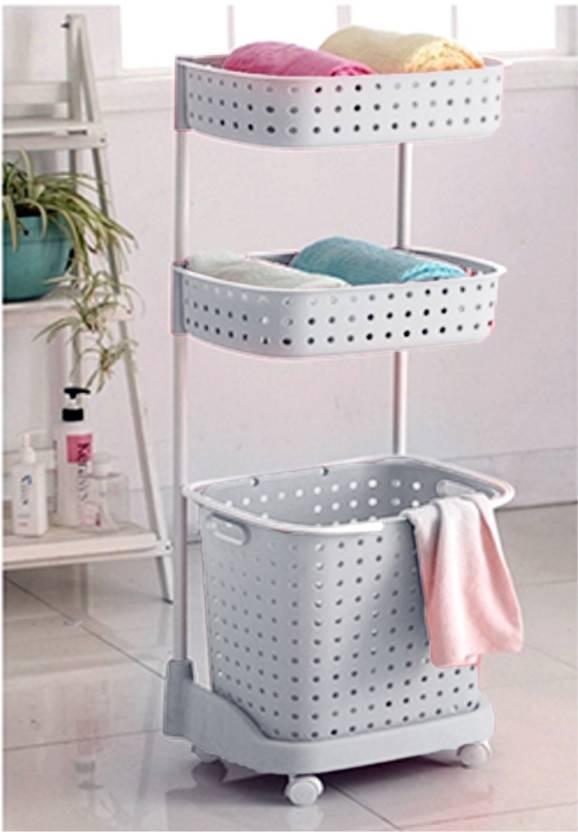 Ybucket Dirty Clothes Basket Plastic Laundry Bathroom Clothing Storage 3 Leyar White