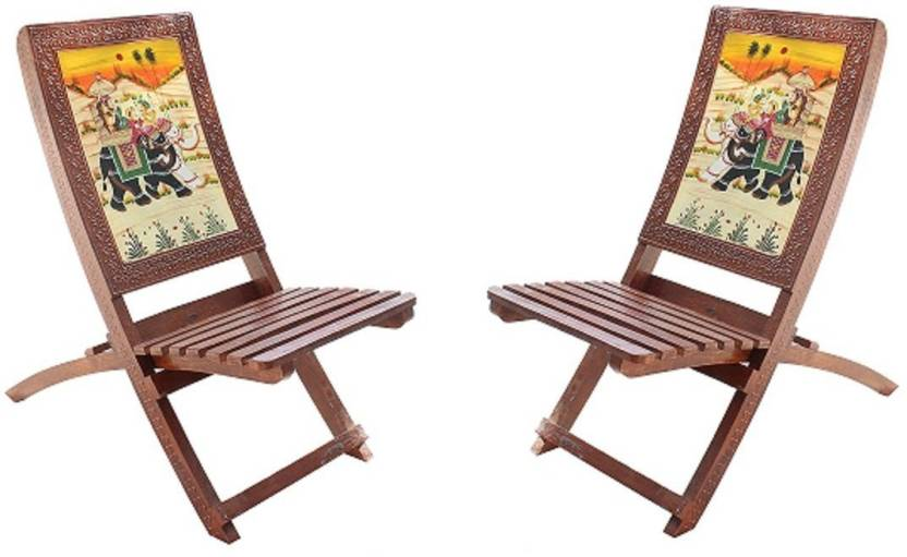 Hindoro Handicraft Wooden Folding Chairs Set Of 2 36 Inch Height Traditional