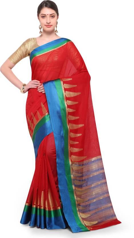 d054a7a726 Varkala Silk Sarees Woven, Self Design Banarasi Cotton Saree (Red)
