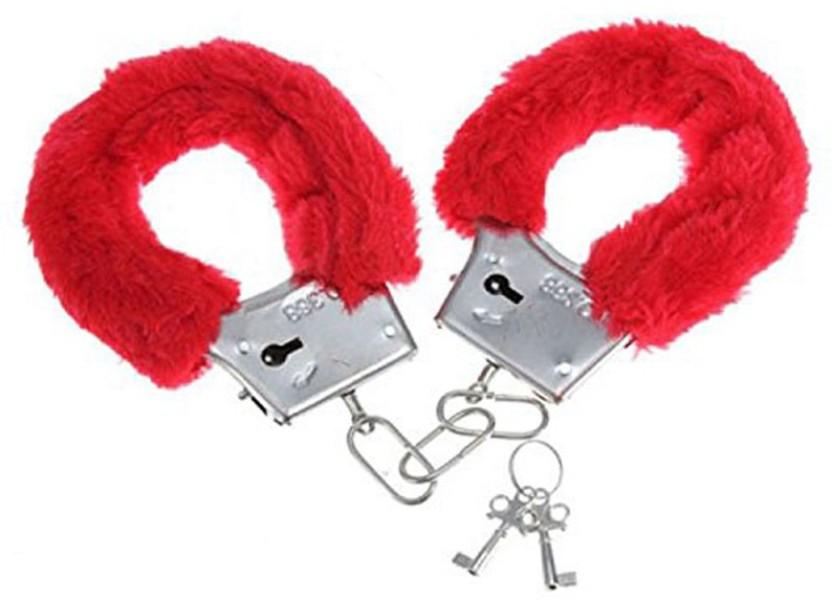 Furry Fuzzy Costume Handcuffs Metal Wrist Cuffs Soft Bachelorette Hen Party