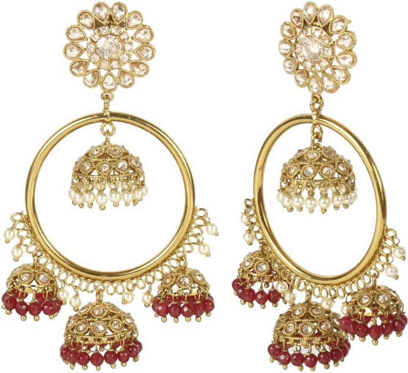 053e14f1951 Flipkart.com - Buy Muchmore Bali Style Polki Fashion Earrings With Beautiful  Dropping of Ruby Stone Alloy Jhumki Earring Online at Best Prices in India