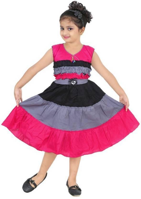 8646ea6e1342 Singham Girls Midi/Knee Length Casual Dress (Multicolor, Sleeveless)