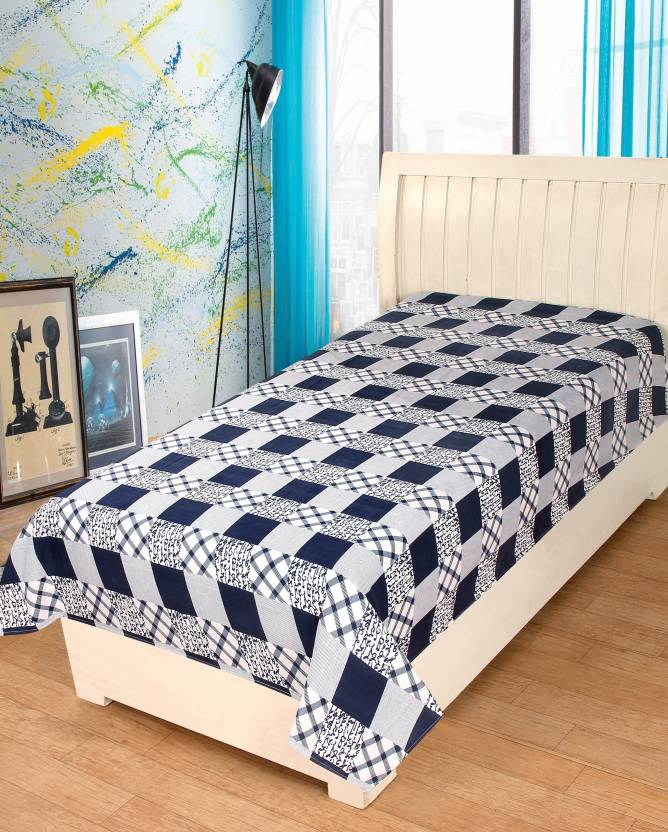 81391cea4c HOME FASHIONS 150 TC Cotton Single Checkered Bedsheet (Pack of 1, White)