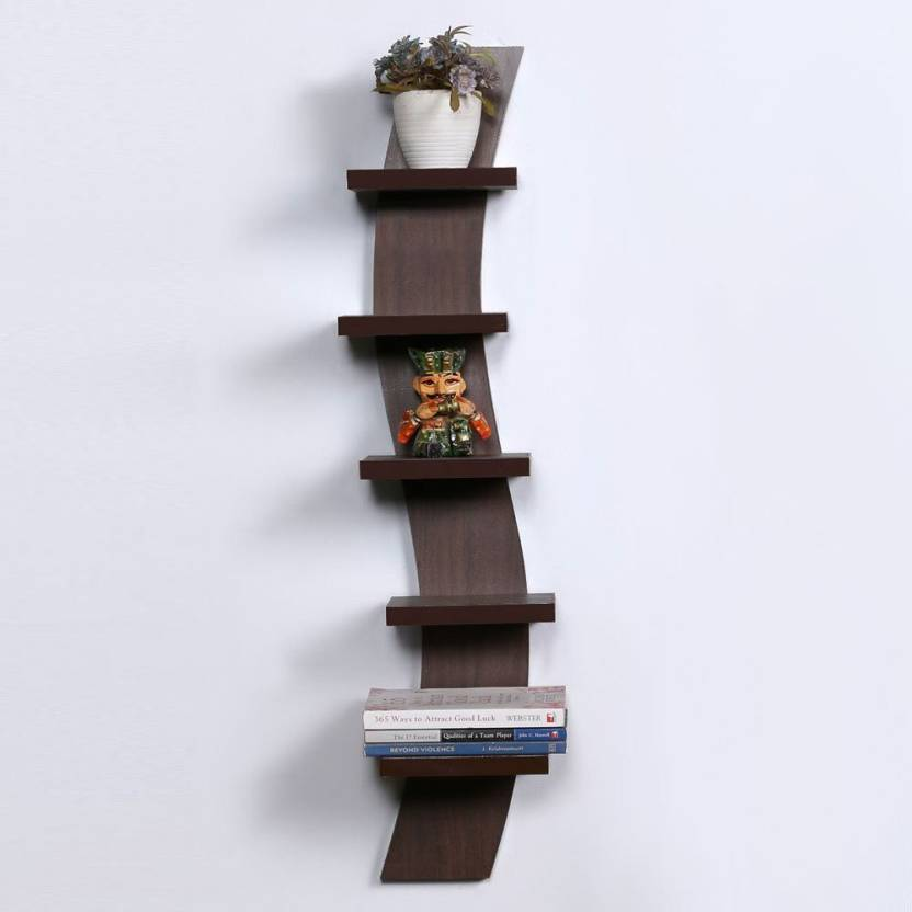 Royals Wood Wall Shelh Rack Curve Shape 5 Tier Mdf Shelf Number Of Shelves Brown