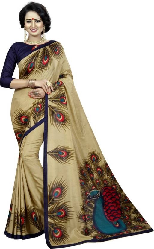 6823caafec97ef Buy V J Fashion Printed Mysore Art Silk Multicolor Sarees Online ...