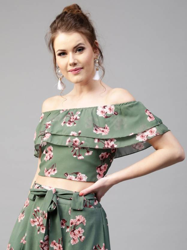 330cd35ba52 Sassafras Casual Layered Sleeve Floral Print Women's Green Top - Buy  Sassafras Casual Layered Sleeve Floral Print Women's Green Top Online at  Best Prices in ...