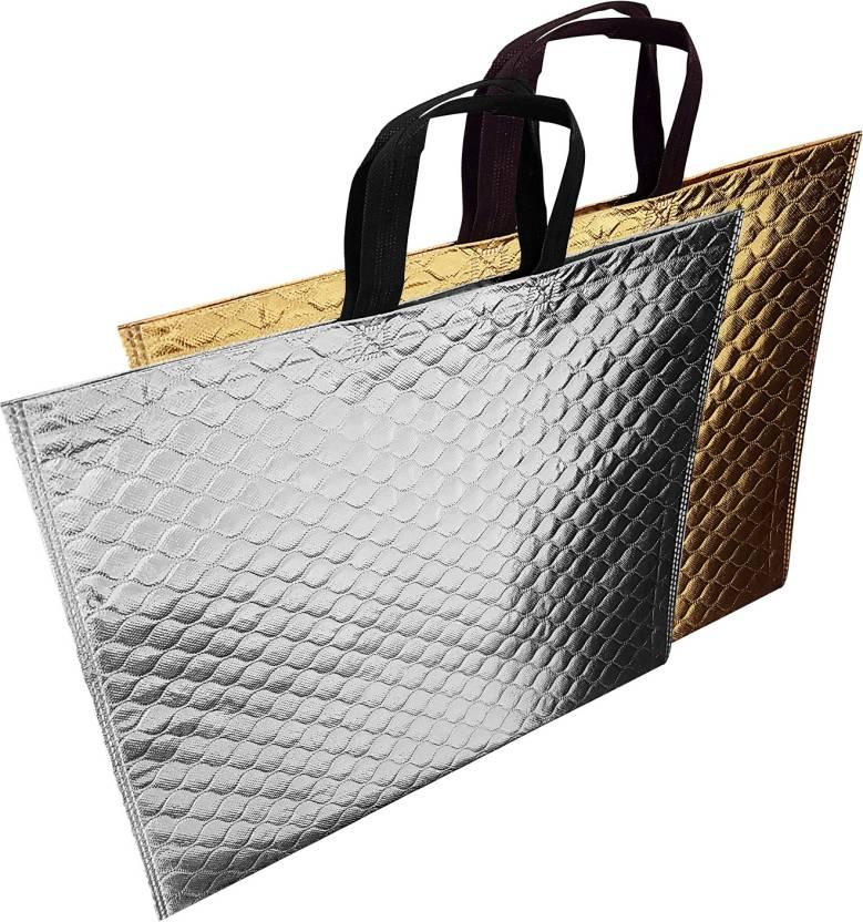 Majik Return Gifts Bags For Kids Birthday Party Set Of 2 Pcs Waterproof Multipurpose Bag Gold Silver 10 L