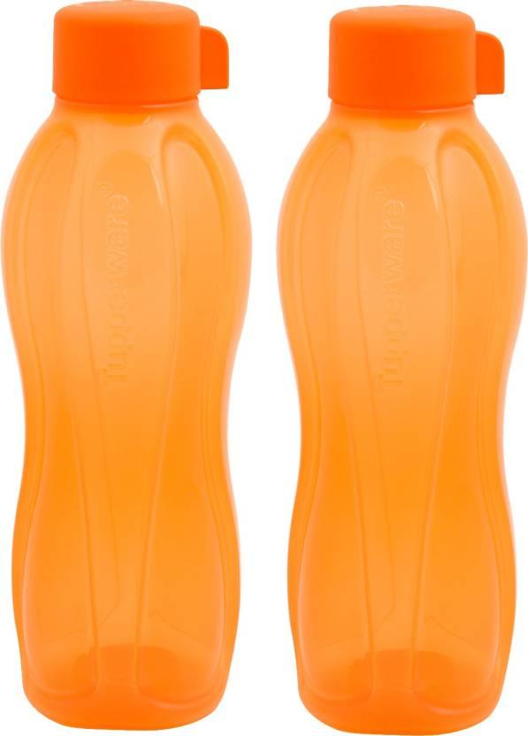 tupperware water bottles set of 2 each 750ml orange color 1500 ml
