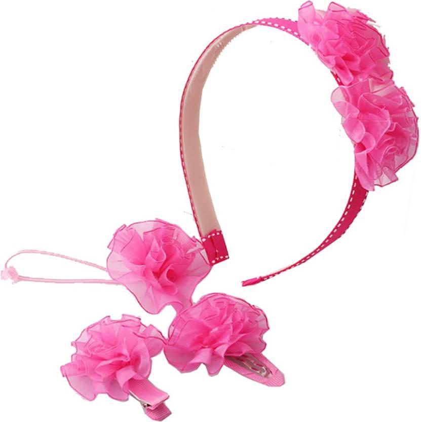 ZIory Pink 4Pcs Set Flower Hairpins Hair Accessories Set Scrunchy Clips  Elastic Hair bands Headband f3e6662f63c
