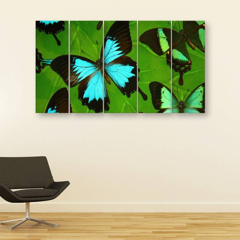 Inephos Multiple Frames Butterfly Wall Painting Digital Reprint 30