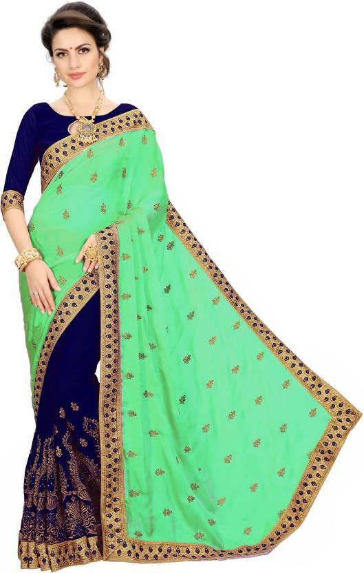 cbb0c36fc3 Buy Rudra Fashion Embroidered Bollywood Silk Multicolor Sarees ...