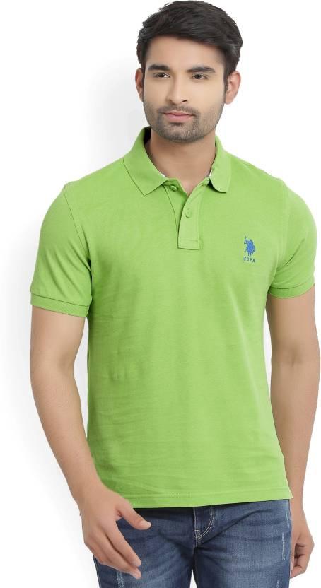e43035156 U.S. Polo Assn Solid Men's Polo Neck Green T-Shirt