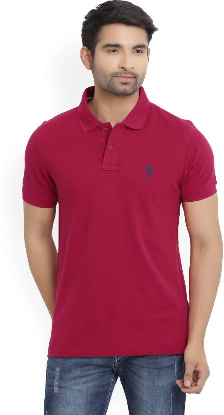 9967c92f43 U.S. Polo Assn Solid Men's Polo Neck Pink T-Shirt - Buy CERISE U.S. Polo  Assn Solid Men's Polo Neck Pink T-Shirt Online at Best Prices in India |  Flipkart. ...