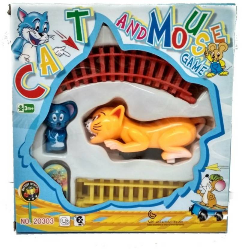 SMGIFT CAT AND MOUSE GAME  BATTERY OPERATED CAT AND MOUSE TRAIN WITH