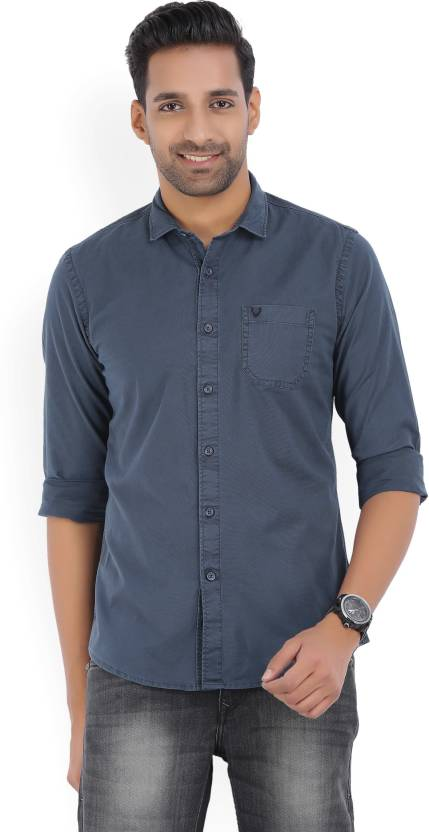 939027cf02 Solly Jeans Co Men s Solid Casual Spread Shirt - Buy Navy Blue Solly Jeans  Co Men s Solid Casual Spread Shirt Online at Best Prices in India