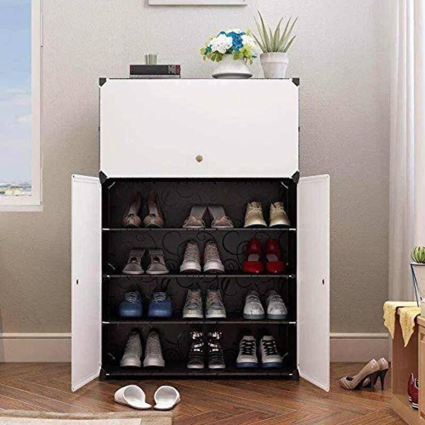 House Of Quirk 3 Door Shoe Cabinet Storage Plastic Collapsible Shoe