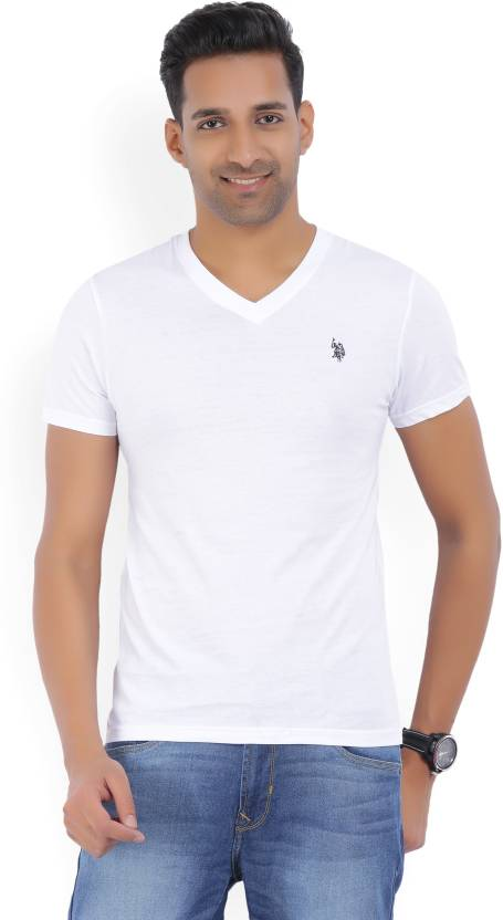 U S Polo Assn Solid Men S V Neck White T Shirt Buy White U S
