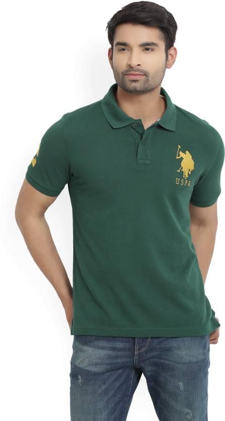 156d3382c U.S. Polo Assn Solid Men's Polo Neck Dark Green T-Shirt - Buy TREKKING  GREEN U.S. Polo Assn Solid Men's Polo Neck Dark Green T-Shirt Online at  Best Prices ...