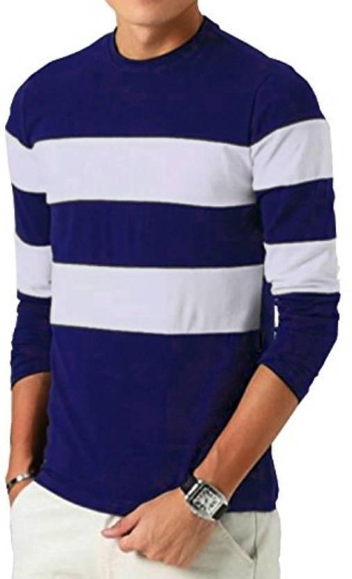 1d9759494d Seven Rocks Striped Men Round Neck Blue, White T-Shirt - Buy Seven Rocks Striped  Men Round Neck Blue, White T-Shirt Online at Best Prices in India ...