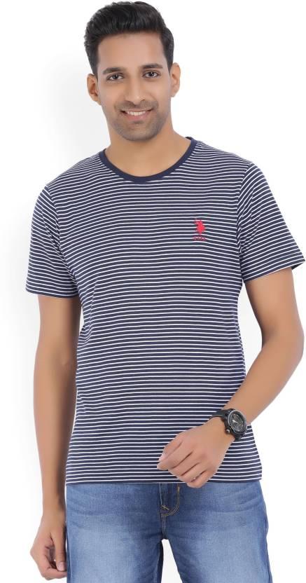 2ffded1d0 U.S. Polo Assn Striped Men Round Neck White, Blue T-Shirt - Buy Navy /White  U.S. Polo Assn Striped Men Round Neck White, Blue T-Shirt Online at Best  Prices ...