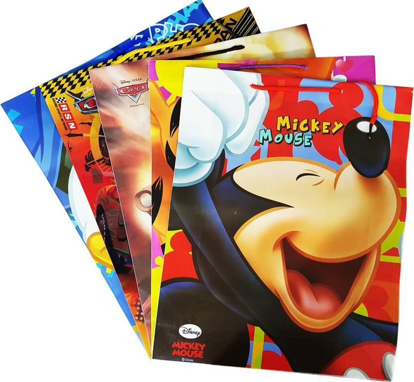 Majik Return Gifts Bags For Kids Birthday PartySet Of 5 Pcs Waterproof Multipurpose Bag Multicolor L