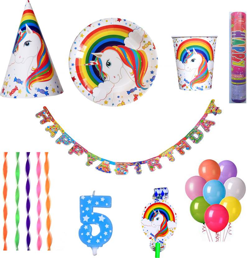 PEPUP Unicorn Theme Kids 5th Birthday Party Decoration Combo Pack For 6 Children