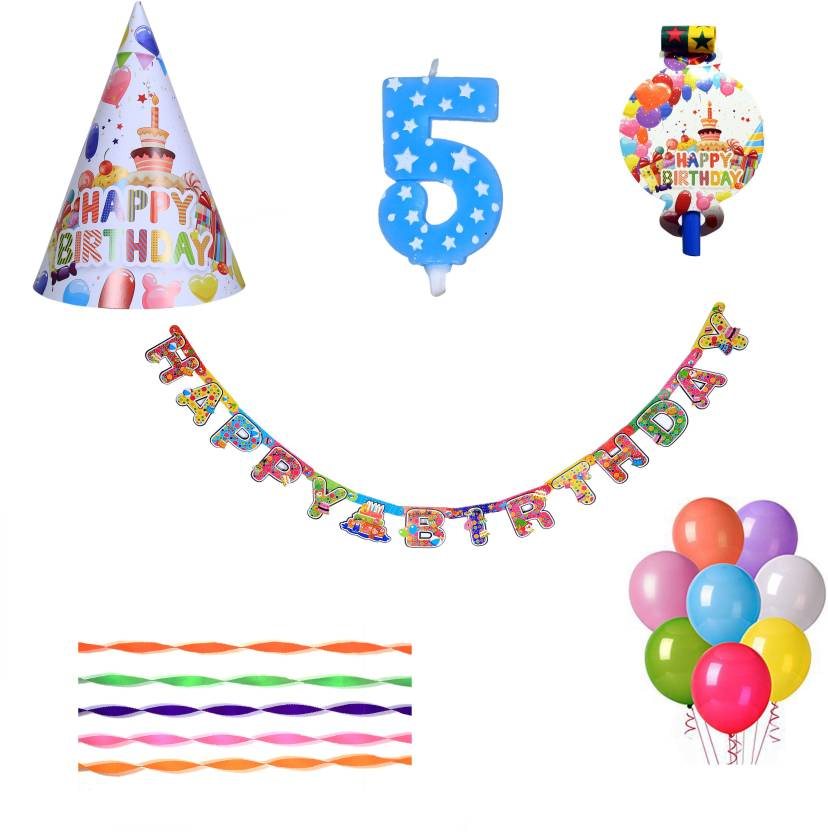 PEPUP Cupcake Theme Kids 5th Birthday Party Decoration Value Pack For 12 Children