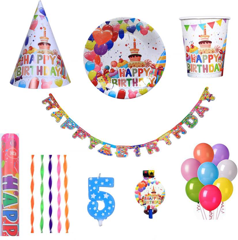 PEPUP Cupcake Theme Kids 5th Birthday Party Decoration Combo Pack For 12 Children