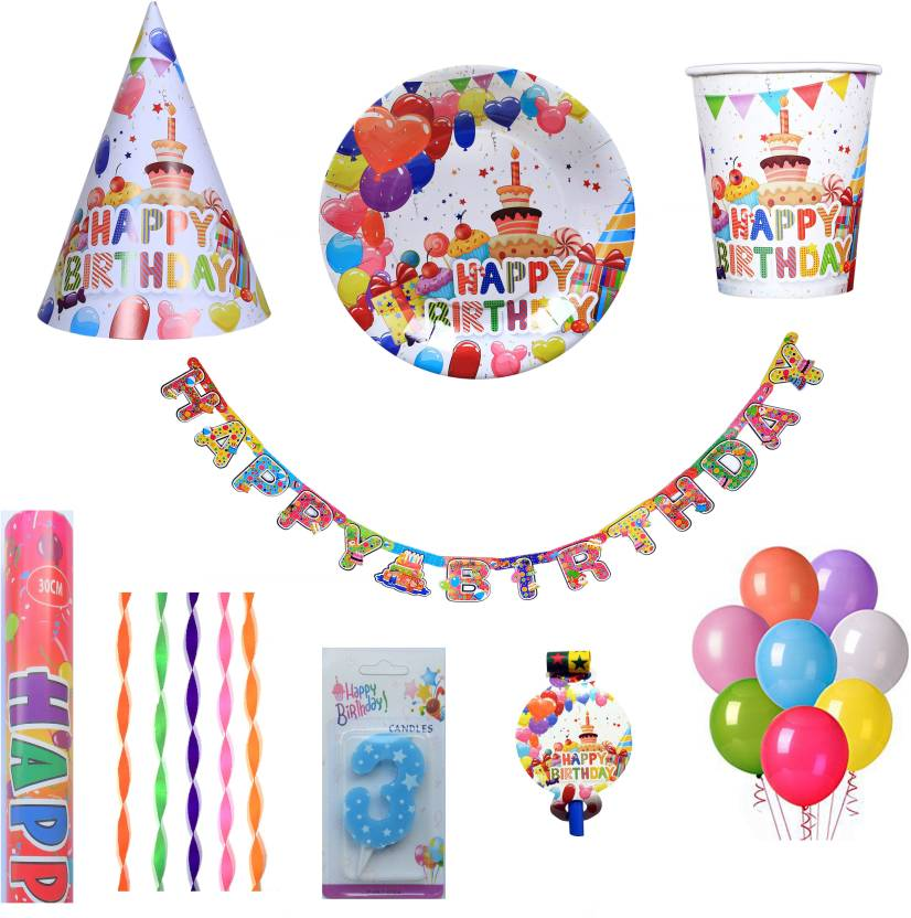 PEPUP Cupcake Theme Kids 3rd Birthday Party Decoration Combo Pack For 12 Children