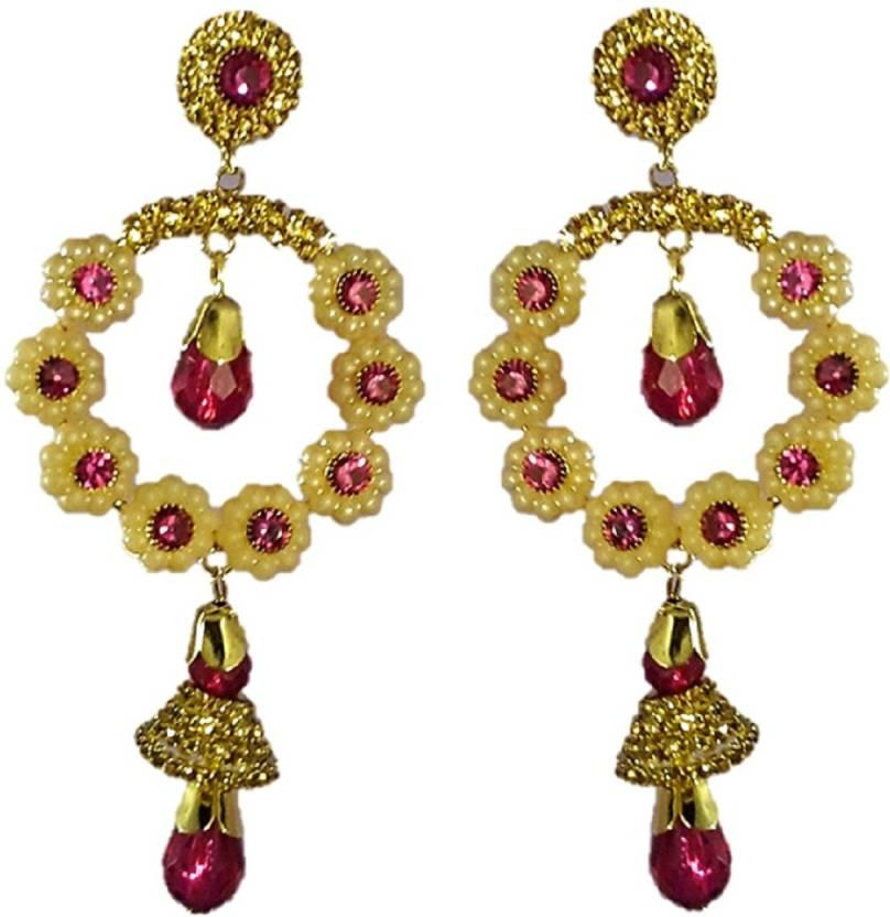 Saroj Golden Petals Cream Pearl With Red Colour Plastic Stone Stud Earring
