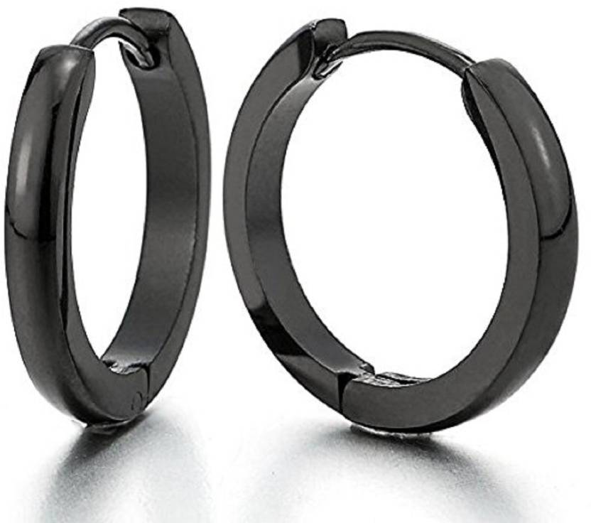 52b07731e136c GadgetsDen Classic Black Plain Thin Cambered Huggie Hoop Ear Lobe Earrings  stud for Men & Women - 20MM Stainless Steel Hoop Earring