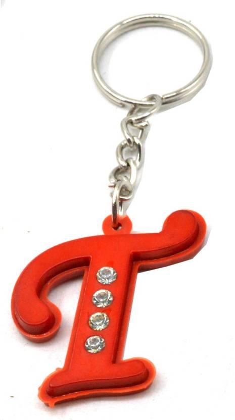 Faynci Alphabet Letter T With Attaractive Diamonds Red Key Chain Key