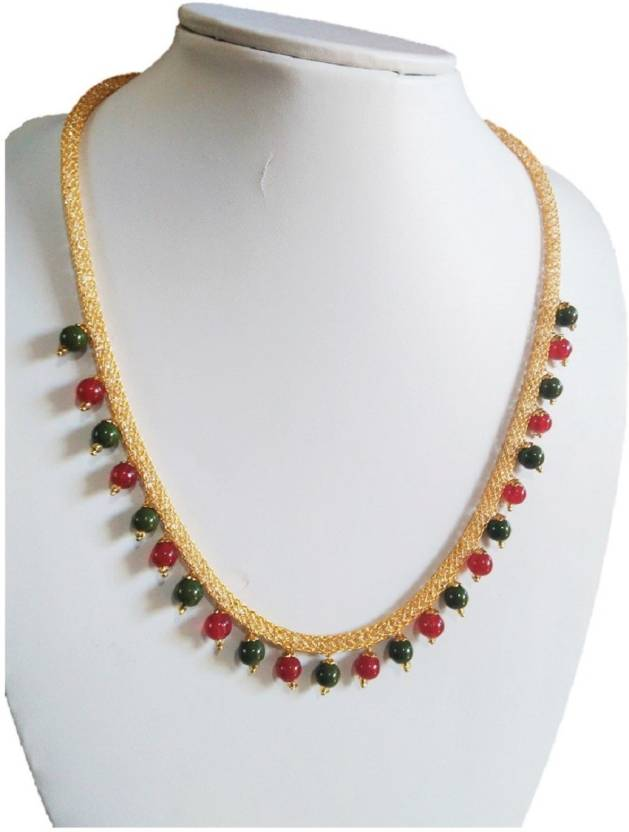 1f05344fbfb7 Passion N Desire Red And Green Glass Pearl Imitation Coral Jade Gold  Platted Ethnic Choker Beads